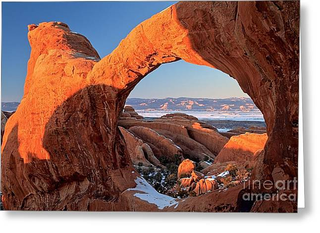 Double O Arch Greeting Cards - Snow In The Saddle Greeting Card by Adam Jewell