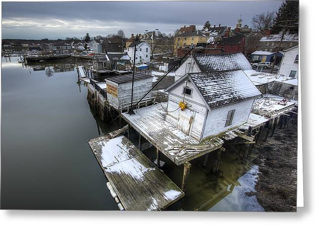 New England Village Greeting Cards - Snow in the South End Greeting Card by Eric Gendron