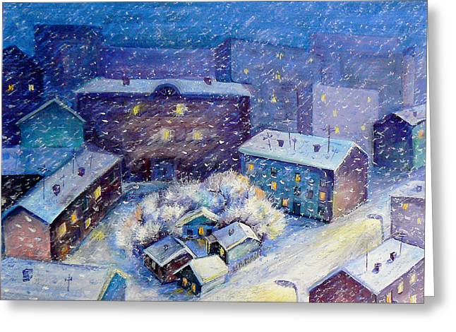 Winter Roads Mixed Media Greeting Cards - Snow in the town Greeting Card by Svetlana Nassyrov