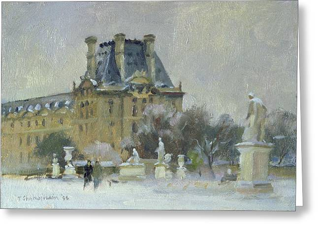 Tuileries Greeting Cards - Snow In The Tuilleries, Paris, 1996 Oil On Canvas Greeting Card by Trevor Chamberlain