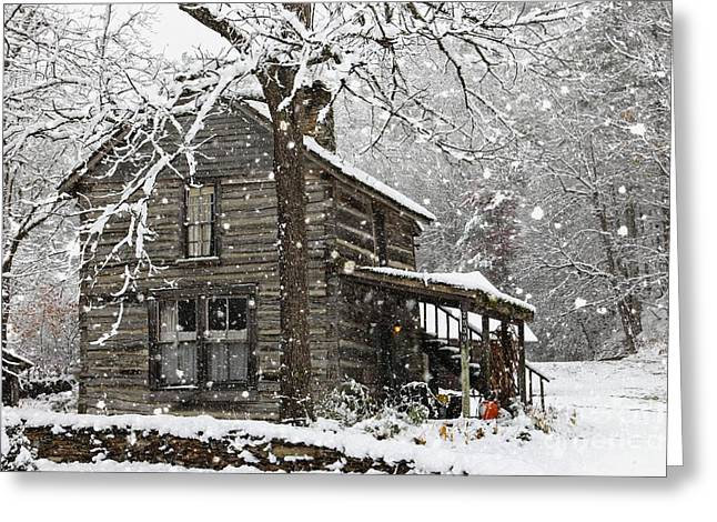 Cabin Wall Greeting Cards - Snow in the Valle Greeting Card by Benanne Stiens