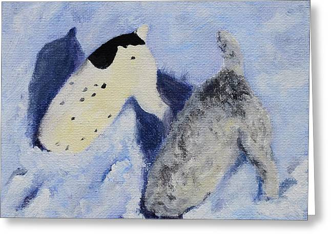 Dogs In Snow. Paintings Greeting Cards - Snow Jacks Greeting Card by Linda Freed