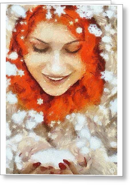 Enjoying Greeting Cards - Snow joy Greeting Card by Gun Legler