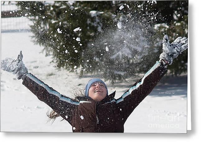Whee Greeting Cards - Snow Joy Greeting Card by Maureen Carr