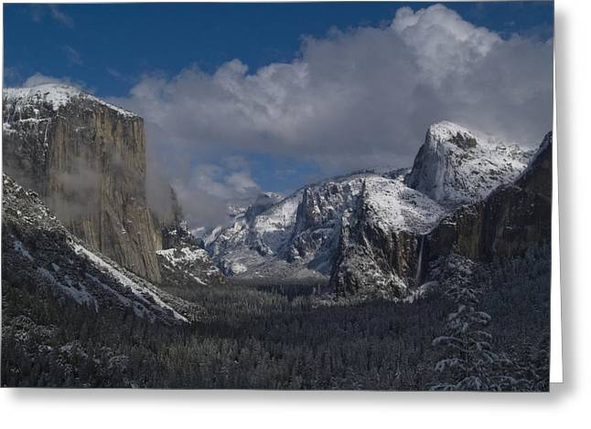 Bridalveil Falls Greeting Cards - Snow Kissed Valley Greeting Card by Bill Gallagher
