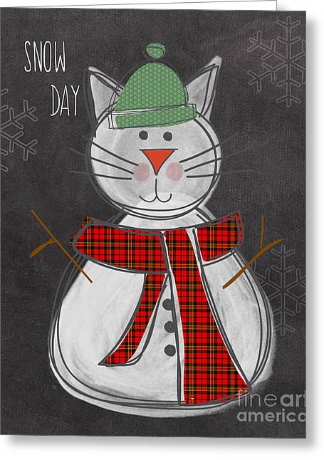Snowman Christmas Card Greeting Cards - Snow Kitten Greeting Card by Linda Woods