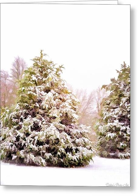 Snow-covered Landscape Greeting Cards - Snow laden - Digital effect II Greeting Card by Debbie Portwood
