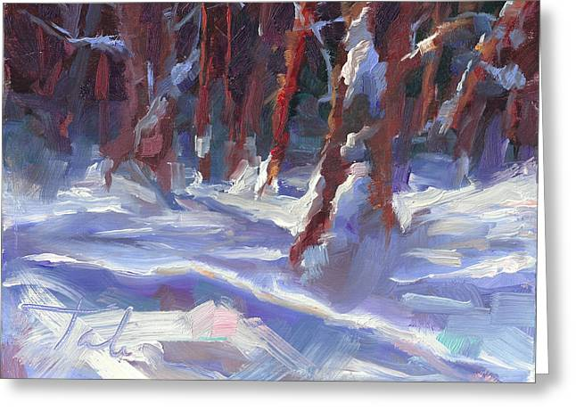 Bough Greeting Cards - Snow Laden - winter snow covered trees Greeting Card by Talya Johnson