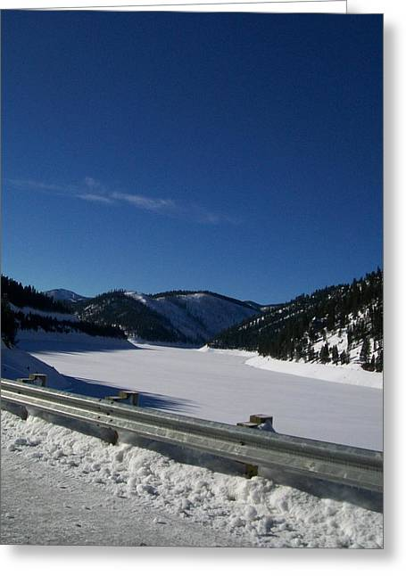 Jewel Hengen Greeting Cards - Snow Lake Greeting Card by Jewel Hengen