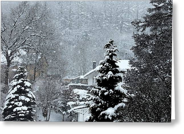 Snow-covered Landscape Greeting Cards - Snow Landscape Greeting Card by Gina Dsgn