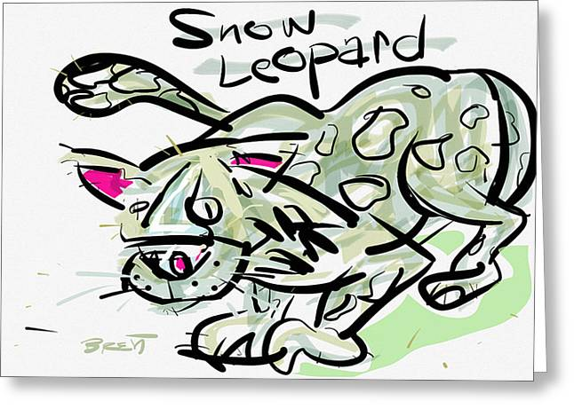 Leopard Drawings Greeting Cards - Snow Leopard Greeting Card by Brett LaGue