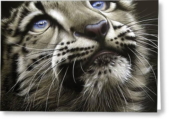 Snow Leopard Cub Greeting Card by Jurek Zamoyski