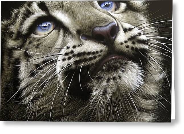 Animal Art Greeting Cards - Snow Leopard Cub Greeting Card by Jurek Zamoyski