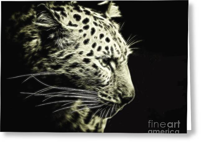 Snow Leopard Electrified Greeting Card by Elaine MacKenzie