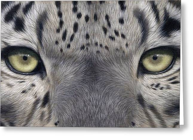 Snow Leopard Greeting Cards - Snow Leopard Eyes Painting Greeting Card by Rachel Stribbling