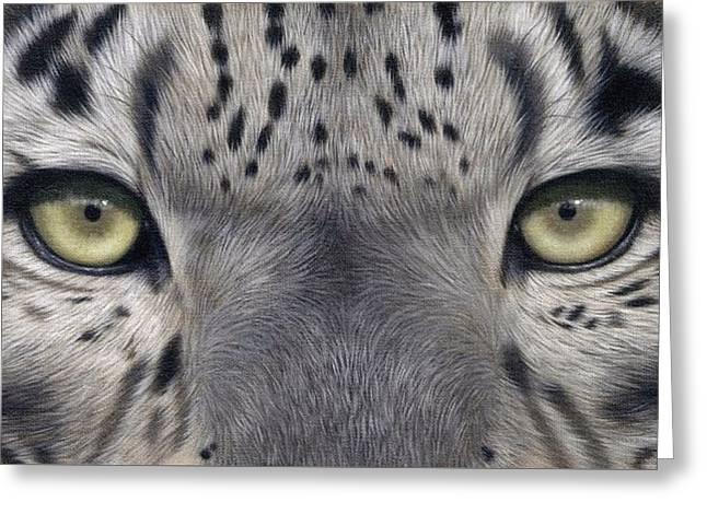 Snow Leopards Greeting Cards - Snow Leopard Eyes Painting Greeting Card by Rachel Stribbling