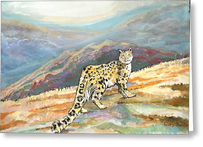 Balance In Life Paintings Greeting Cards - Snow Leopard in the high mountains Greeting Card by Gary Beattie