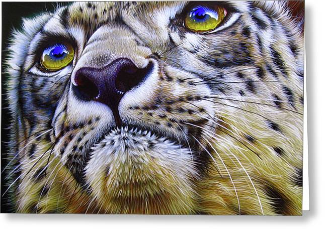 Wild Cats Paintings Greeting Cards - Snow Leopard Greeting Card by Jurek Zamoyski