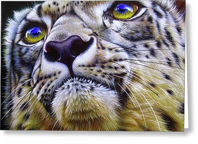 Snow Leopard Greeting Card by Jurek Zamoyski