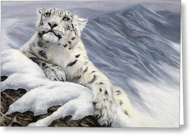 Feline Greeting Cards - Snow Leopard Greeting Card by Lucie Bilodeau