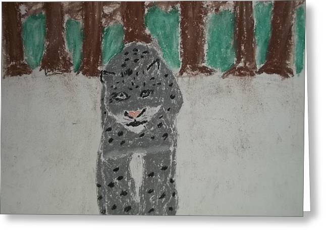 Etc. Pastels Greeting Cards - Snow Leopard Pastel On Paper Greeting Card by William Sahir House