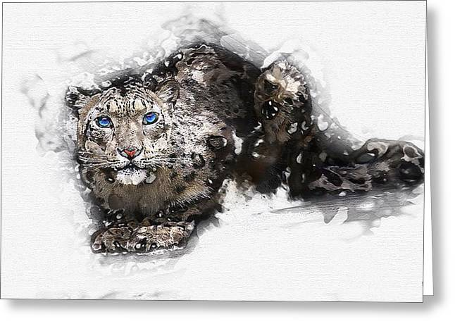 Ultra Modern Greeting Cards - Snow Leopard - The Blue-eyed Ghost of Qomolangma Greeting Card by Serge Averbukh