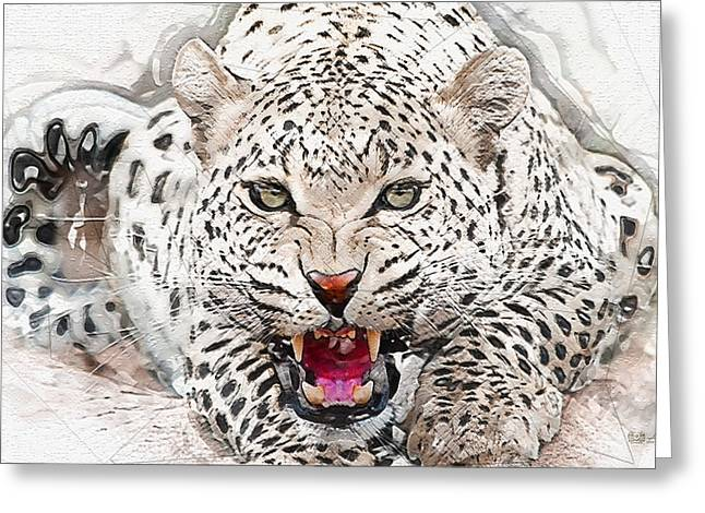 Ultra Modern Greeting Cards - Snow Leopard - The Gray-eyed Guardian of Annapurna Greeting Card by Serge Averbukh