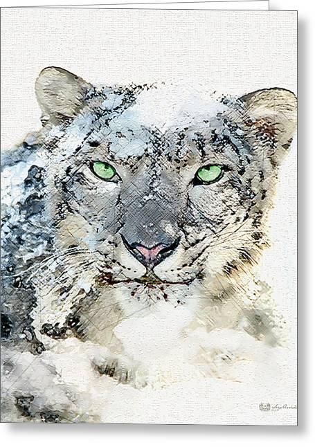 Ultra Modern Digital Greeting Cards - Snow Leopard -The Green-eyed King of Sagarmatha Greeting Card by Serge Averbukh