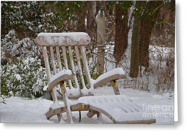 Chaise Greeting Cards - Snow Lounging  Greeting Card by Kimberly Roberts