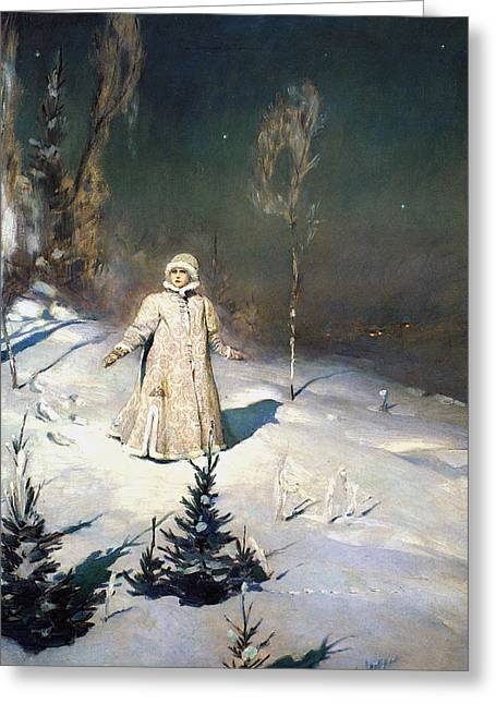Maiden Greeting Cards - Snow Maiden 1899 by Vasnetsov  Greeting Card by Movie Poster Prints