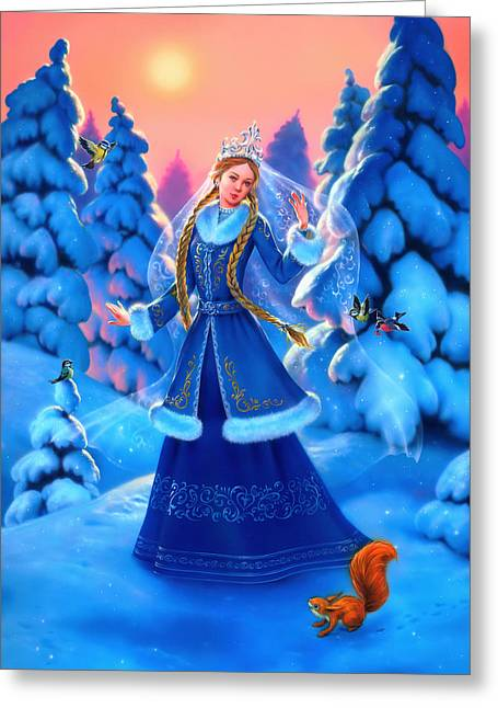 Maiden Greeting Cards - Snow Maiden Greeting Card by Eldar Zakirov
