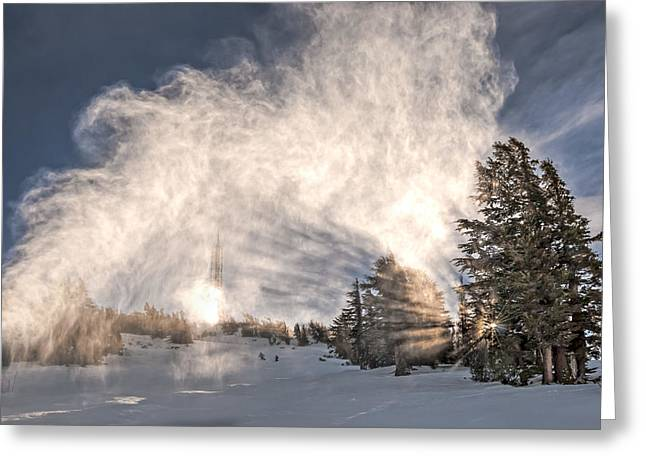 Snowy Day Greeting Cards - Snow Flume Greeting Card by Maria Coulson