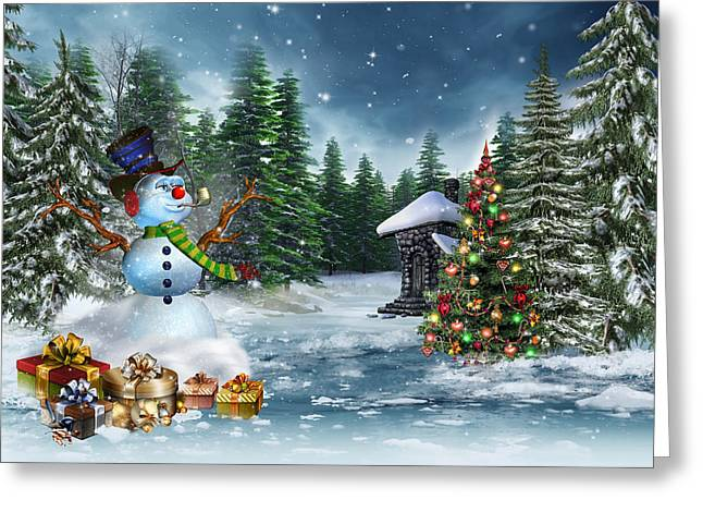 Dore Digital Greeting Cards - Christmas Scene Greeting Card by Vintage