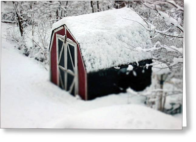 Snow On Barn Greeting Cards - Snow March 2013 Greeting Card by Monte Landis