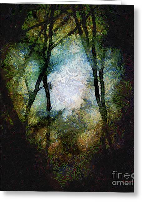 Night Cafe Digital Art Greeting Cards - Snow Moon Embrace Greeting Card by RC DeWinter