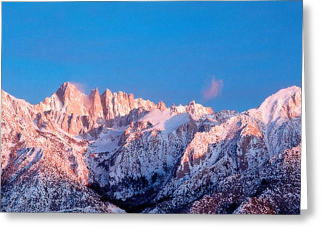 Snow Capped Greeting Cards - Snow Mt Whitney Ca Usa Greeting Card by Panoramic Images