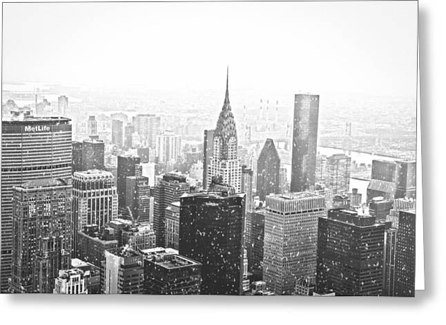 Winterscape Greeting Cards - Snow - New York City Skyline Greeting Card by Vivienne Gucwa