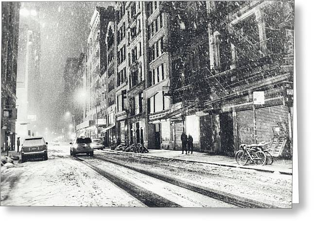 New York Photo Greeting Cards - Snow - New York City - Winter Night Greeting Card by Vivienne Gucwa