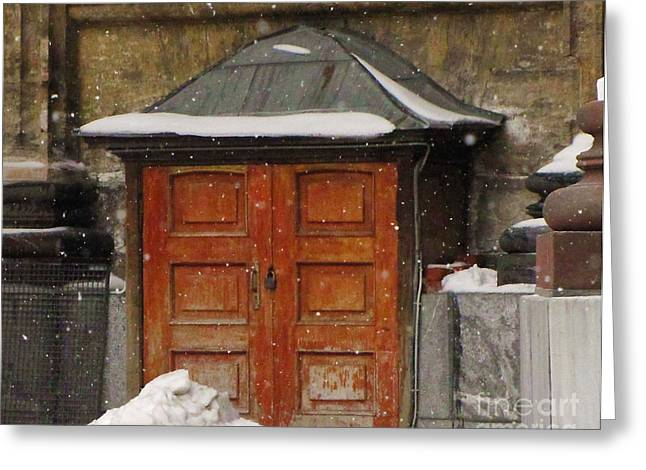 Old Door Pyrography Greeting Cards - Snow Old Door Greeting Card by Yury Bashkin