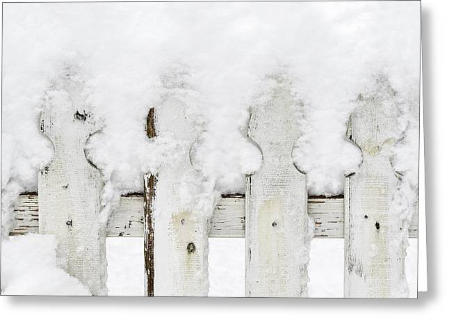 Blizzard Scenes Greeting Cards - Snow on a white picket fence Greeting Card by Marianne Campolongo