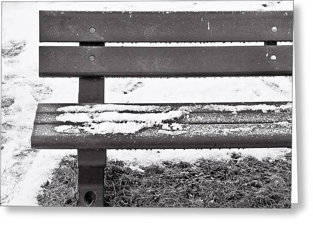 Traces Greeting Cards - Snow on bench Greeting Card by Tom Gowanlock