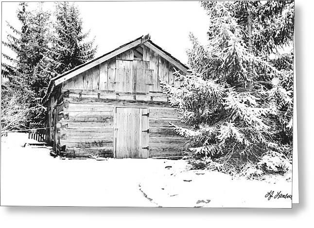 Vinter Greeting Cards - Snow on Cabin Greeting Card by Lj Lambert