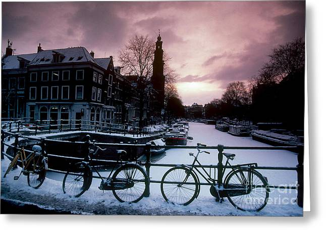 Snow Scenes Greeting Cards - Snow On Canals. Amsterdam, Holland Greeting Card by Farrell Grehan