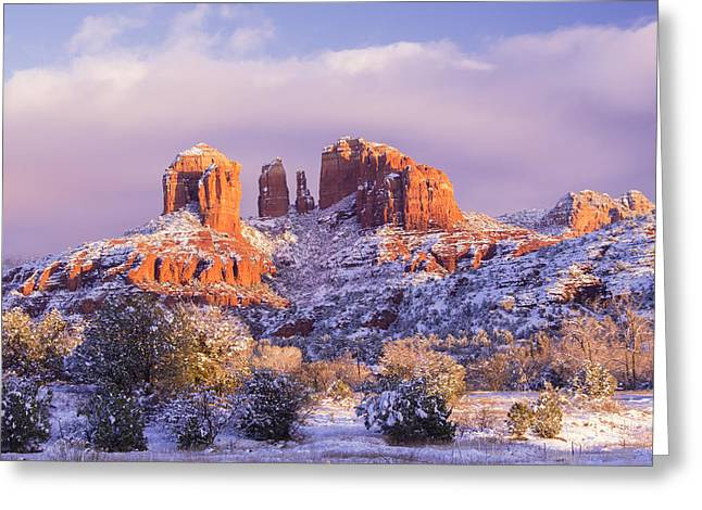 Cathedral Rock Greeting Cards - Snow On Cathedral Rock Greeting Card by Wayne  Johnson