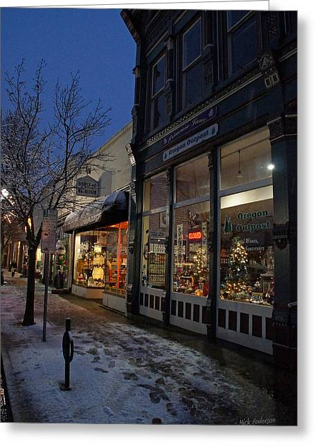 Snow On G Street - Old Town Grants Pass Greeting Card by Mick Anderson