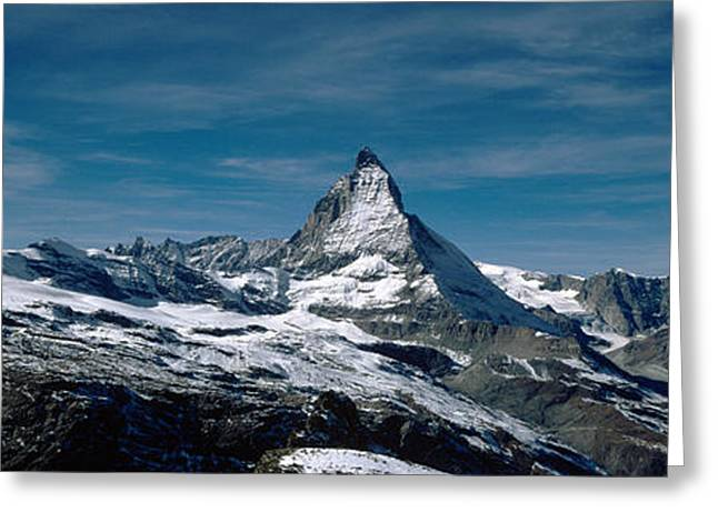 Mountain Greeting Cards - Snow On Mountains, Matterhorn, Valais Greeting Card by Panoramic Images