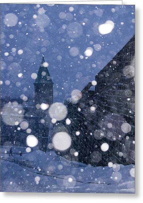 Arkady Kunysz Greeting Cards - Snow on old Quebec City Greeting Card by Arkady Kunysz