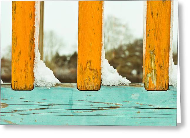 Snow Drifts Greeting Cards - Snow on railings Greeting Card by Tom Gowanlock