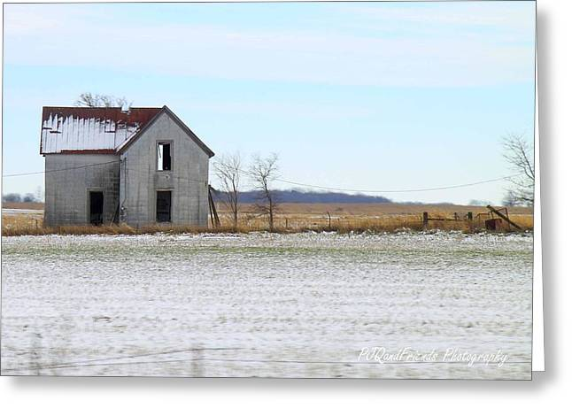 Red Roofed Barn Greeting Cards - Snow on Red Roof Greeting Card by PJQandFriends Photography