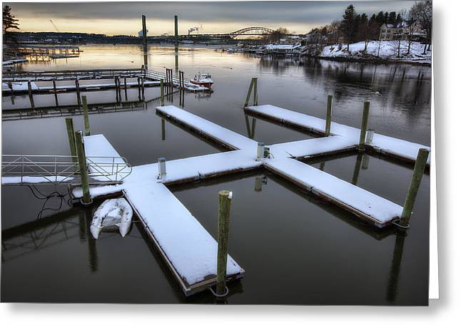Maine Shore Greeting Cards - Snow on the Docks Greeting Card by Eric Gendron